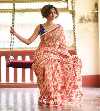 Jamdani Sarees - Handloom Jamdani- Cream And Red With Intricate Flowers By Suta PC 18280 - Thumbnail