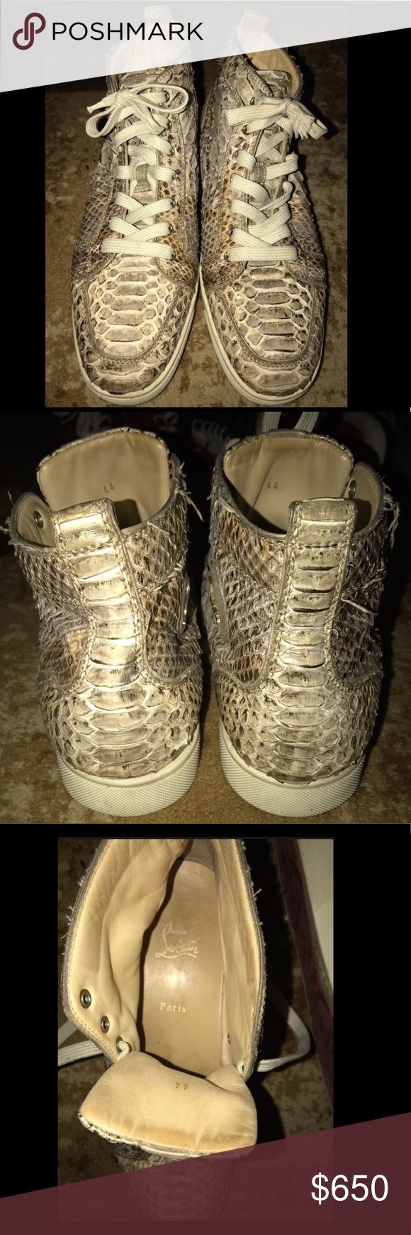 Christian Louboutin Rantus Orlato Flat Python Men's Python Christian Louboutin Rantus Orlato high-top sneakers with round toes, creme contrast rubber soles and lace-tie closures at uppers. Unfortunately , no dust bag or box. Lace ends stripped. Christian Louboutin Shoes Sneakers