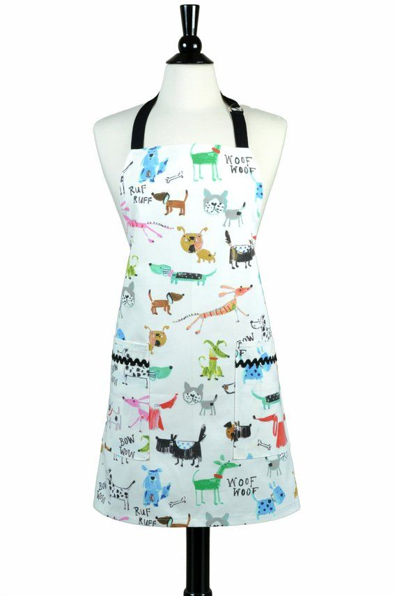 Womens Kitchen A Canvas Chef Cute Bow Wow Dogs Retro Print Two Large Pockets And Adjule Neck