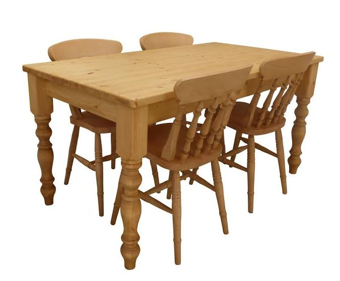 Hand made solid pine farmhouse table with beautiful turned legs