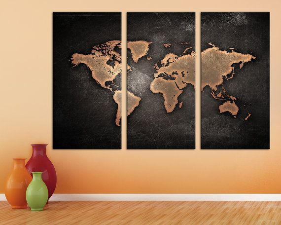 24 best 3 panel split abstract world map canvas print images on 3 panel split abstract world map canvas print by arttecprints gumiabroncs Images