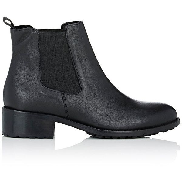 Barneys New York Women's Shearling-Lined Chelsea Boots (£325) ❤ liked on Polyvore featuring shoes, boots, ankle booties, обувь, ankle boots, black, black ankle bootie, round toe booties, short boots and black ankle boots