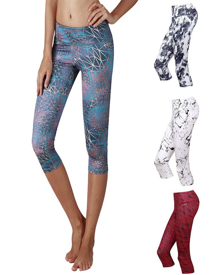 Yoga Reflex Women's Yoga Capris Printed Fitness Yoga Capri Hidden Pocket(XS-2XL)