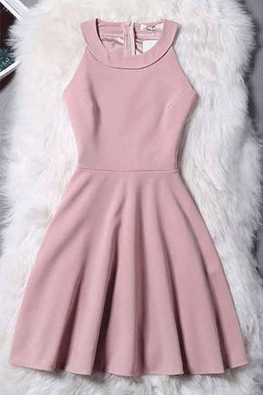 Princess Evening Dresses, Pink Evening Dresses, Short Homecoming Dresses With Pleated Sleeveless Round WF01G49-397 3