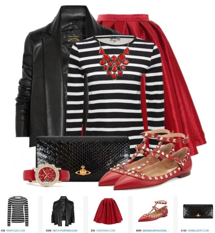 Юбка красного цвета и черная кожанка