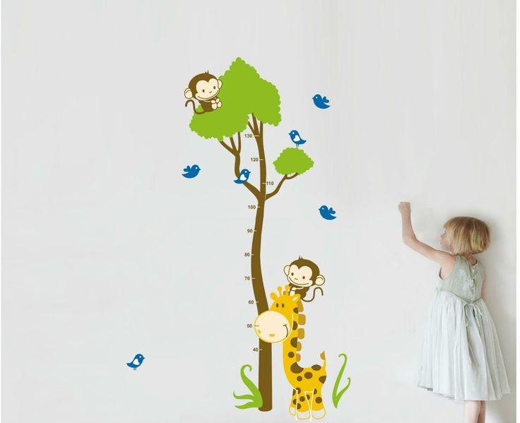 ufengke® Uccelli Albero Verde Scimmia Carino Giraffa Adesivi Murali con Metri, Camera dei Bambini Vivai Adesivi da Parete Removibili/Stickers Murali/Decorazione Murale