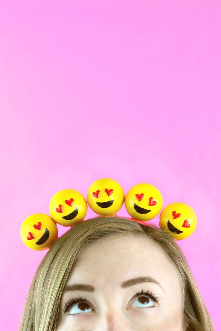 Cute DIY emoji headband - would be a fun as part of a handmade emoji Halloween costume