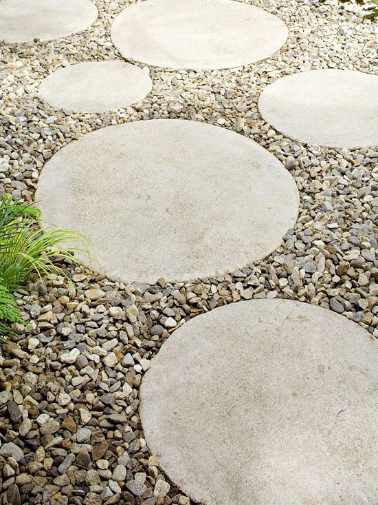 Circular concrete stepping stones laid in gravel create a pathway. By covering