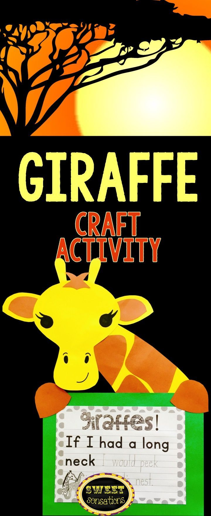 Giraffe craft activity for your study on zoos and wild animals.  5 writing options.