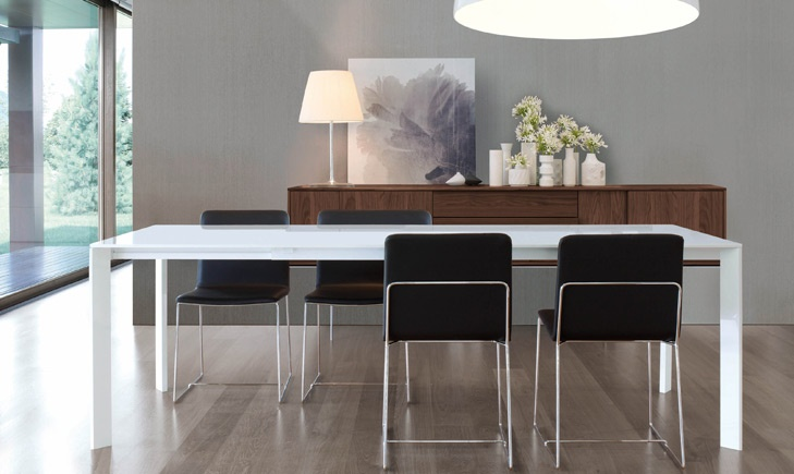 dining table sensai white high gloss lacquer opens from 71 to 118 italian made by jesse available at wwwpomphomecom shown with tully dinin - White Gloss Kitchen Table