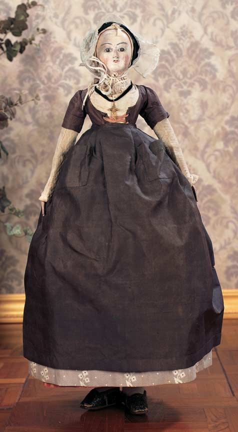 early french wooden doll in original costume