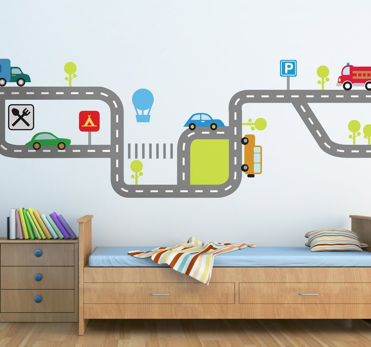 a lovely and colourful car wall sticker illustrating a flow of traffic with various vehicles on kids bedroom ideasnursery