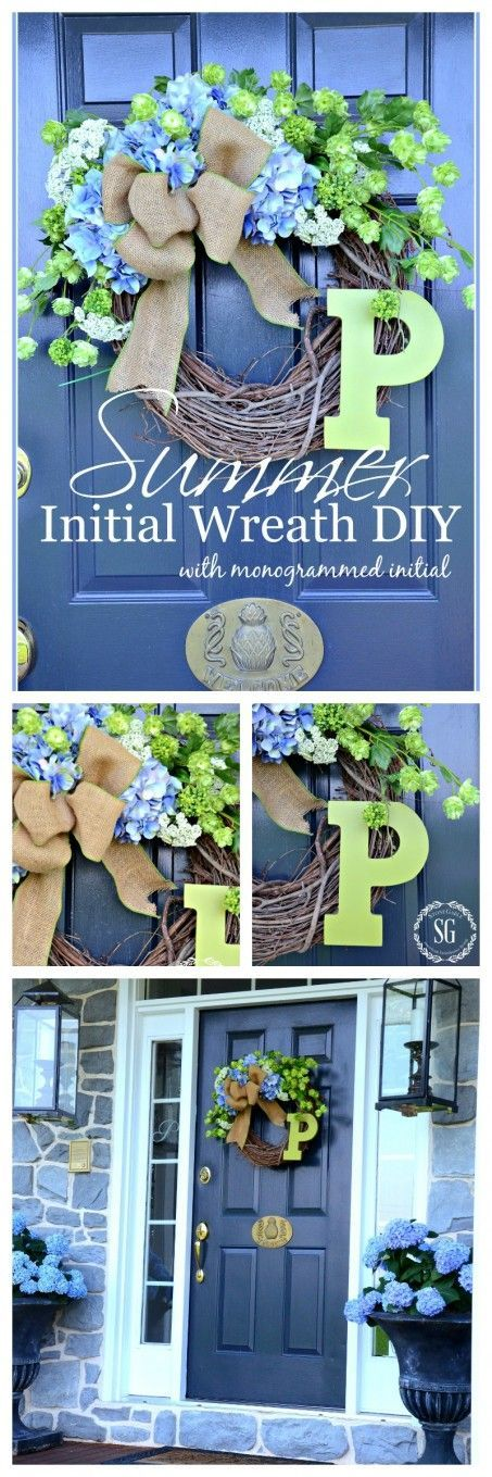 SUMMER HYDRANGEA INITIAL WREATH WITH MONOGRAMMED INITIAL Make a lush, pretty summery wreath for your front door!