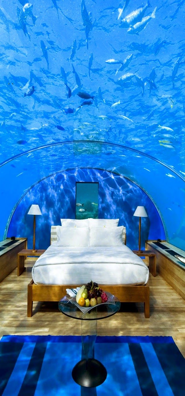 5 Star Conrad Maldives Rangali Resort Island. Hmm, wonder if my claustrophobia would grab hold, sure looks pretty!