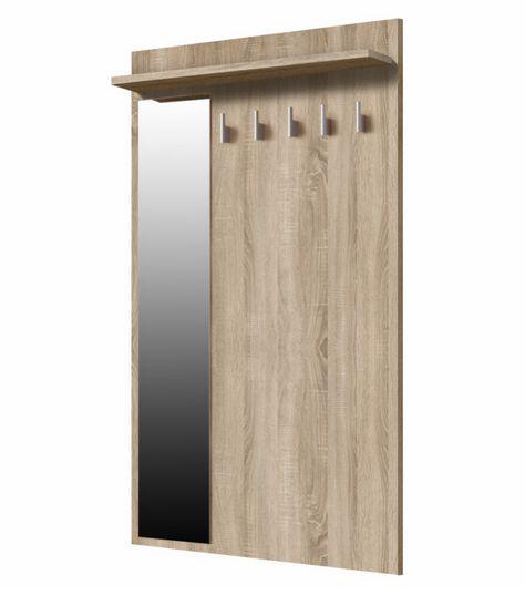 STRIP wieszak naścienny średni, szeroki z półką drewnianą i lustrem