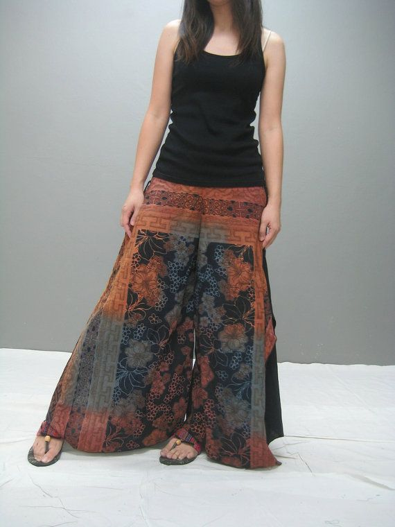 Morning garden wide legs pant by thaitee on Etsy