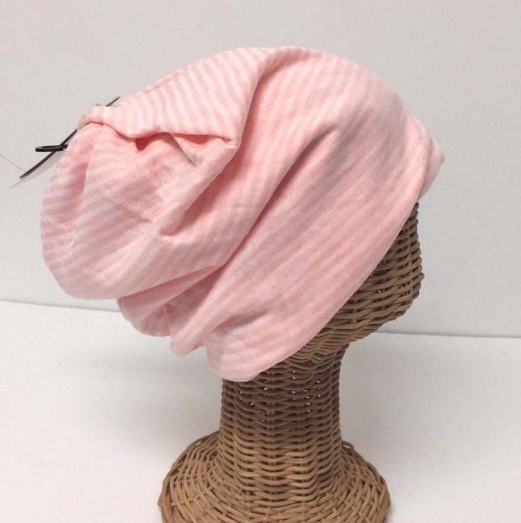 Knit Striped Pink Beanie Women's Winter Ear Warmer Head Wrap Warm Skull Ski Hat