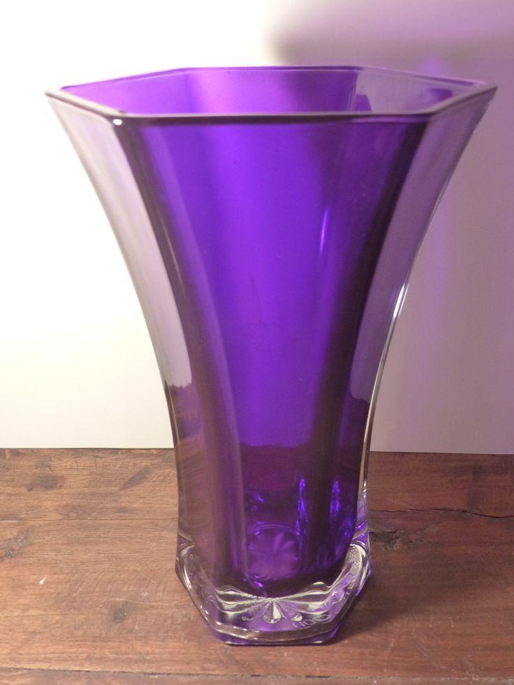 HOOSIER GLASS VASE - Hoozier Purple Glass Vase - Vintage Hoosier Lavender Vase by GOLLYWOODBOULEVARD on Etsy