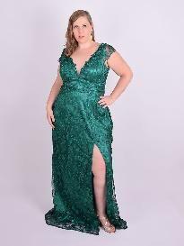 6385bb235fdf Vestido Longo Festa Tule Bordado Fenda Verde Plus Size em 2019 ...