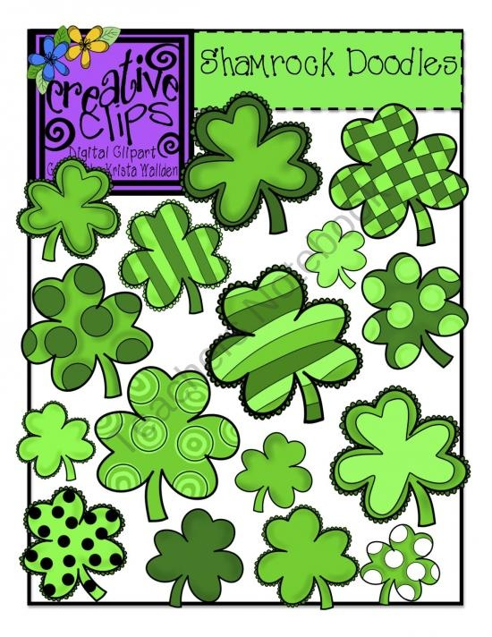 St. Patrick's Day Shamrock Doodles product from Creative-Clips-Clipart on TeachersNotebook.com