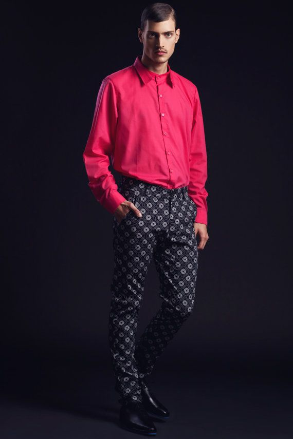SALE 20% off! Long sleeved hot pink button up shirt with unique ...
