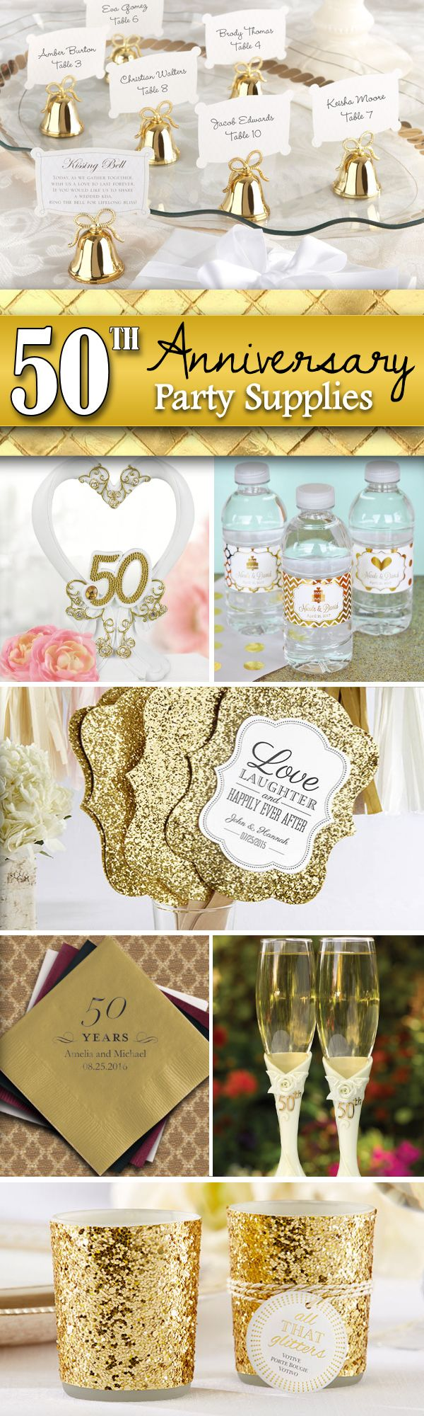 Throwing a 50th Wedding Anniversary Party?  Get all the supplies for a golden anniversary bash that your guests won't soon forget.  Find favors, champagne flutes, decorations, tableware and more.....