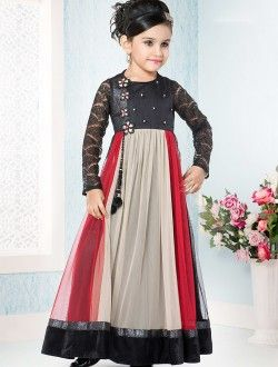 Party Wear Multi Colour Georgette Lace Border Work kids Wear Gown