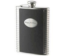 Personalized 8 Oz Black Leather Stainless Steel Flask by Engraving Gift Shop. $23.95. Every student or professor will love this 8 Ounce Black Bonded Leather Stainless Steel Flak in a handsome black and silver finish. With its spiral notebook style on either side it is certainly a winning score from everyone's point of view. With an easy open top and a silver oval plate for a name, this flask is ideal.  Comes with free personalized engraving with up to 3 lines, 10 chara...