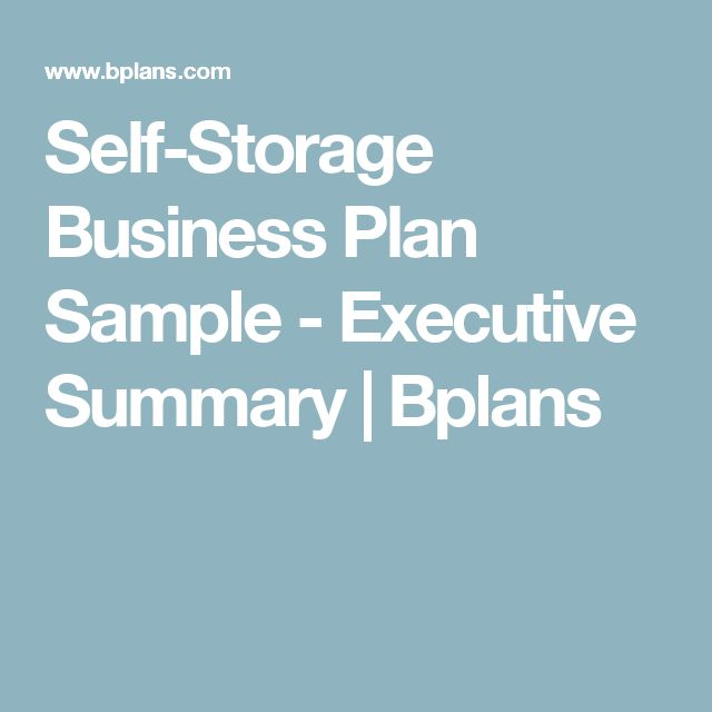 Self-Storage Business Plan Sample - Executive Summary | Bplans