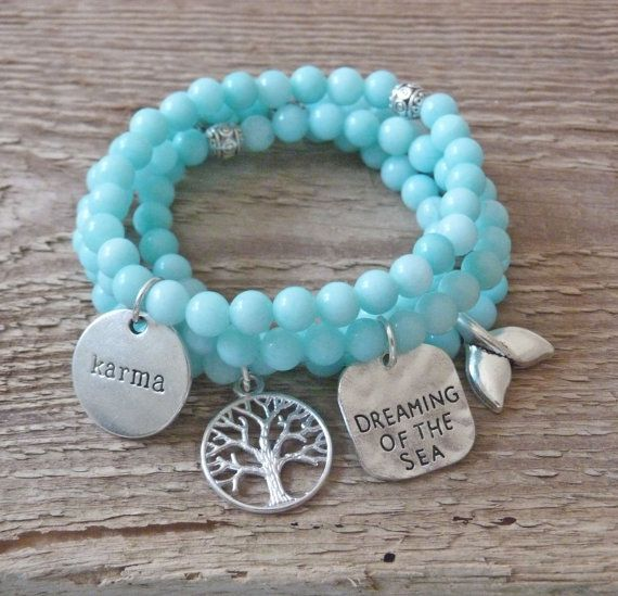 4 mint aqua bracelets beach bracelets karma dreaming of the sea tree of life mermaid bohemian bracelets by beachcombershop