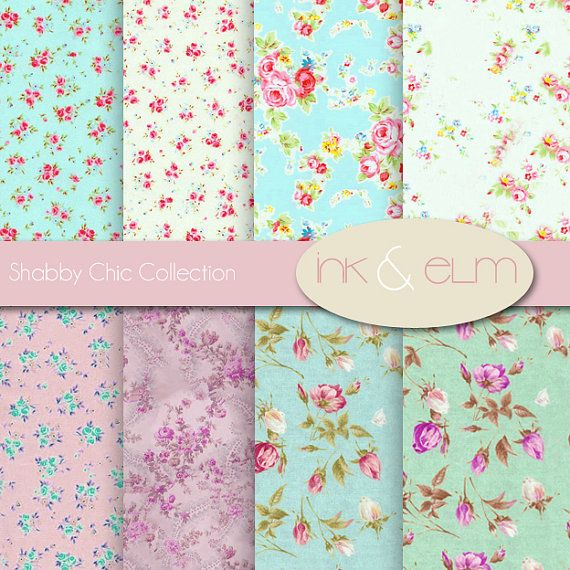 Shabby Chic Rose Digital Paper  Vintage Floral and by InkAndElm, $4.95