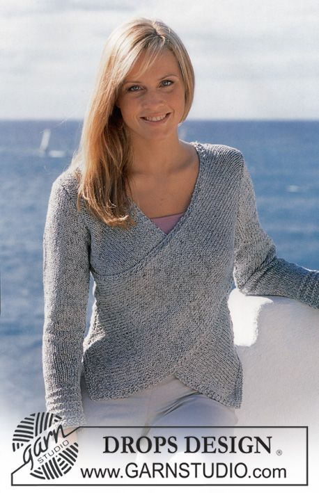 DROPS 81-28 - Jumper in Silke-tweed and Cotton Viscose with wrap-round at front - Free pattern by DROPS Design