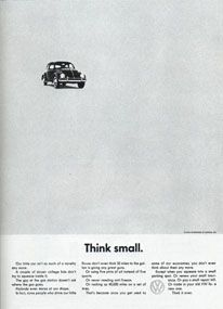 VW: Think Small.    - MelissaTops Advertising, Vw Advertising, Classic Advertising, Advertising Campaigns, Advertising Slogans, Vw Ads, Vintage Ads, Unforgetable Ads
