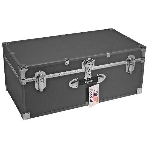 Locking Stackable Trunk-Silver Grey by Mercury Luggage. $119.99. .25-inch fiberboard covered in heavy gauge vinyl. Interior is unlined, no tray included. Silver exterior with color coordinated high impact styrene binding. Easy-open push-button key lock. Stackable, 1 front plastic handle. Add a splash of serious yet contemporary style to your dorm room while providing valuable storage space with the Mercury Luggage Locking Stackable Trunk - Silver Gray. This handy trunk st...