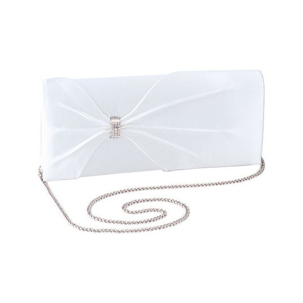 Women's Dyeables HB1805 - White Dyeable Purses ($38) ❤ liked on Polyvore featuring bags, handbags, white, evening bags, rhinestone handbags purses, chain handle handbags, chain strap handbag and white evening bag