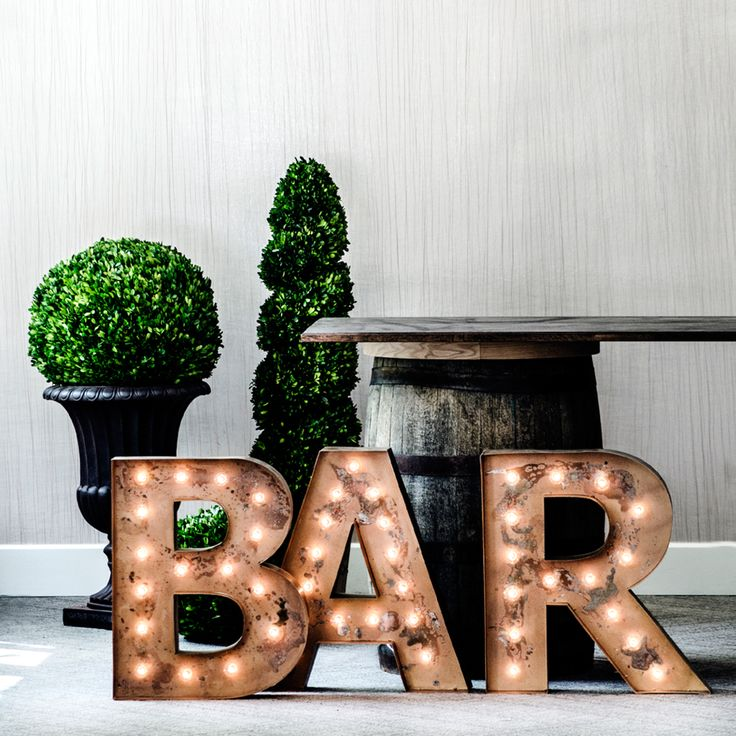 diy 'bar' letters for on the top of the downstairs bar cabinet...use chipboard or metal letters from craft store and add lights