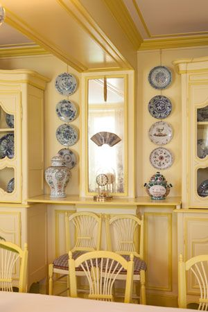 The dining room at Claude Monet's home in Giverny, France.  I was there 12 years ago and loved the gardens and the lily pond with Le Pont Japonais!