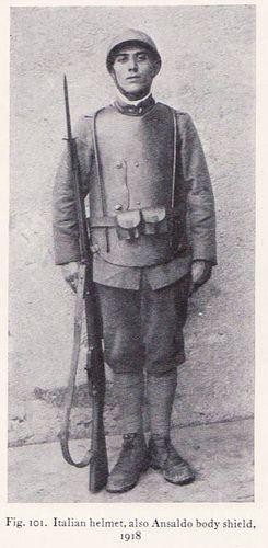 WW1. Italian helmet, also Ansaldo body shield, 1918.