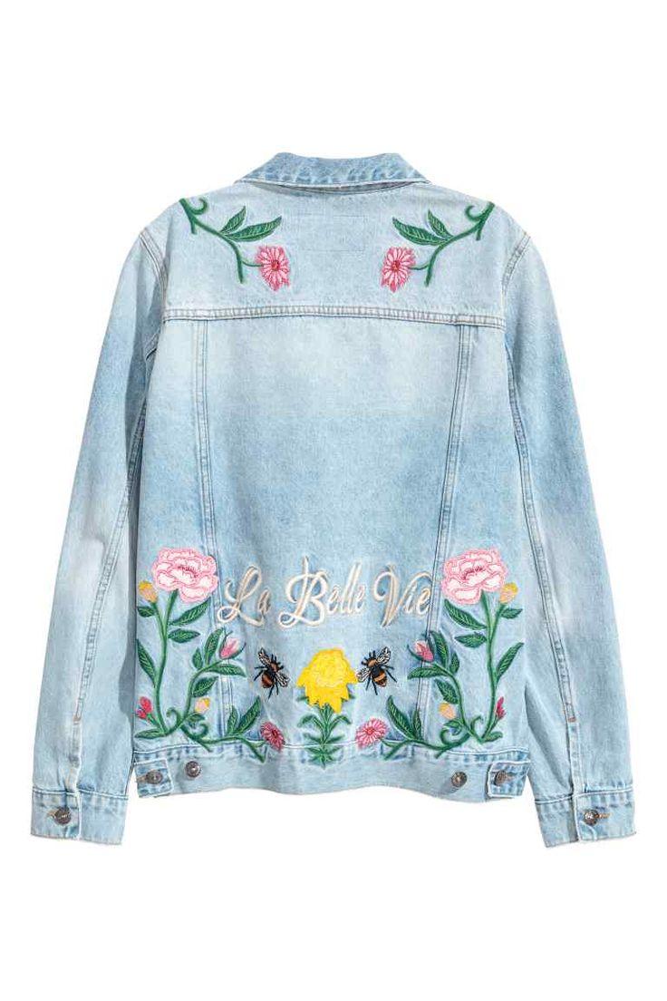 Denim jack met borduursel - Licht denimblauw/bloemen - DAMES | H&M NL