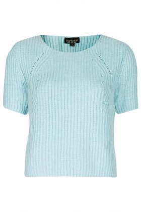 Knitted Short Sleeve Rib Top - Knitwear  - Clothing