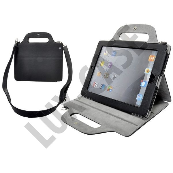 Leather iPad 2 Shoulder Bag (Black) Folding Stand