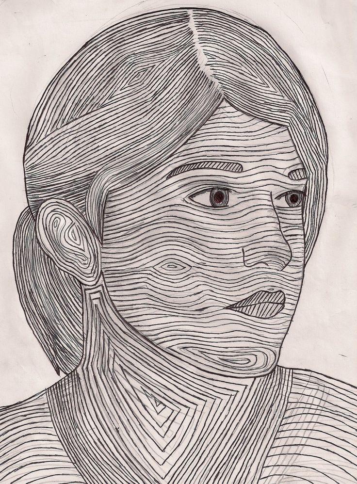 Contour Line Drawing Self Portrait : Self portrait and contour lines pinterest