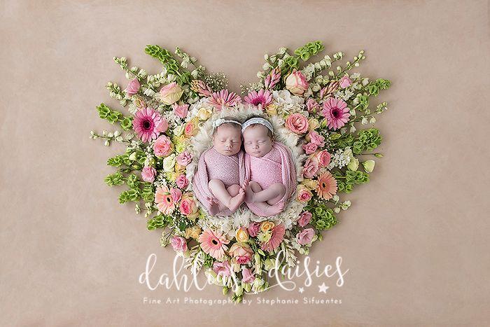 Dallas Newborn Twin Photographer, newborn girl, twins, newborn twins, fresh flowers, pink