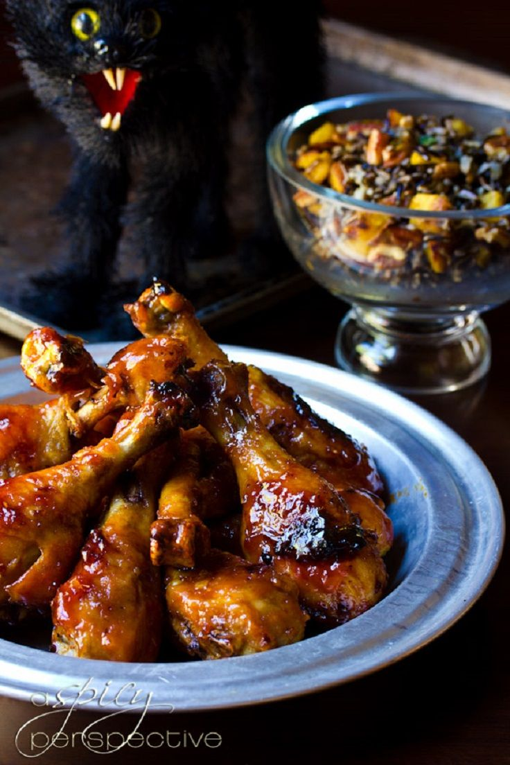 Halloween Dinner Party Recipes , Sweet and Spicy Drumsticks - maybe next year!