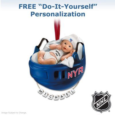 NHL®-licensed New York Rangers® baby's first Christmas ornament with FREE do-it-yourself personalization kit. Rangers® colors, logos.