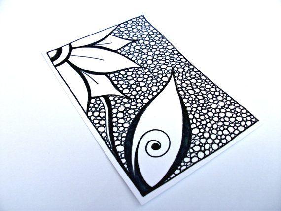 Dessin de fleur Original ACEO, Zentangle inspiré Art, noir et blanc Zendoodle
