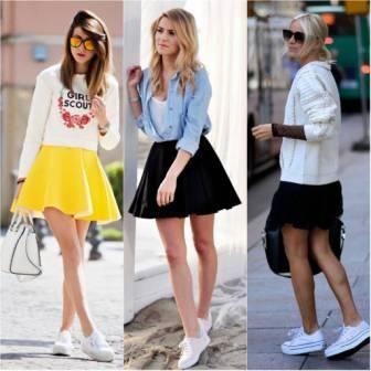 tenis branco com saia