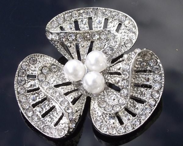 Wedding Brooches - Three Petal White Pearl Brooch With Crystals, Emily