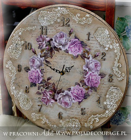 zegar w stylu vintage shabby chic