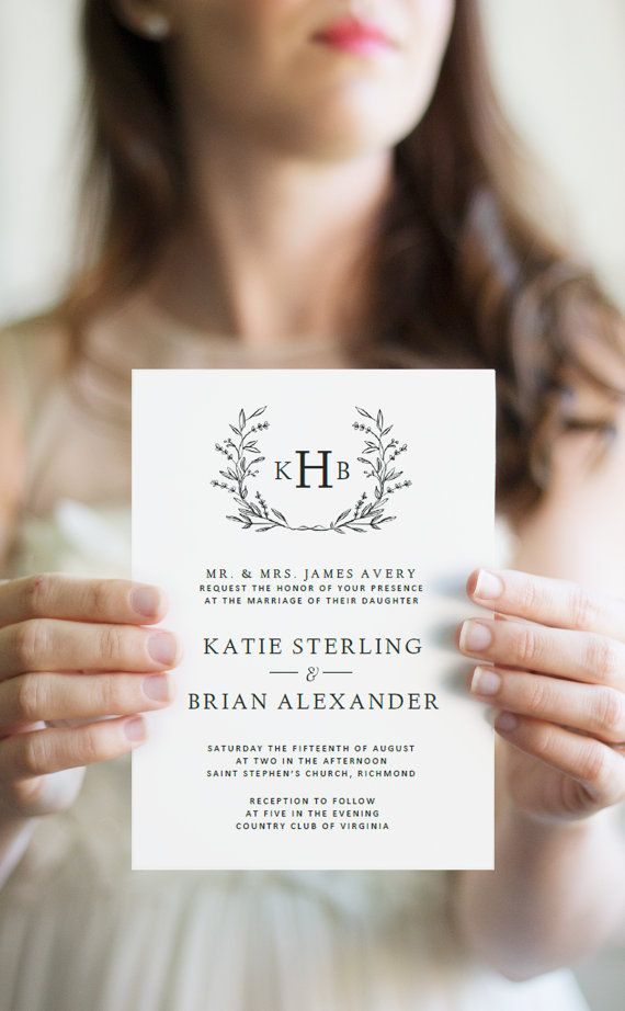 free templates for wedding response cards%0A Wedding Invitation Template   Digital Download for Word   Floral Wreath  Invitation   Fully Customizable